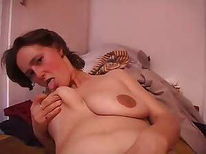 Hirsute Mommy with attractive saggy hooters screwed