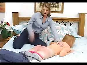 Strict Momma spanked her severely