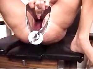 way-out cookie stretching with speculum