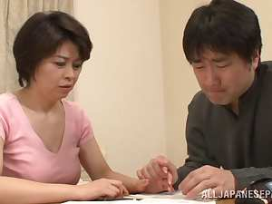 Mature Asian chick Chiaki Takeshita gets rear banging