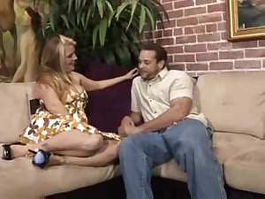 Breasty Joclyn Stone stuffs a thick belt-on unfathomable in her boyfriends wazoo