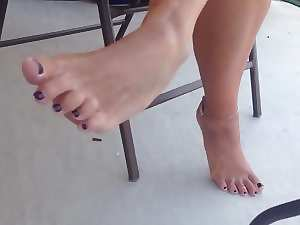 Candid Sensual Housewifes feet and legs on patio