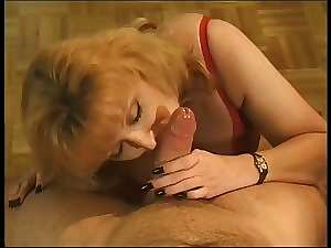 Filthy bitch gives cock sucking