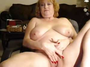 Aged woman squirting on web camera