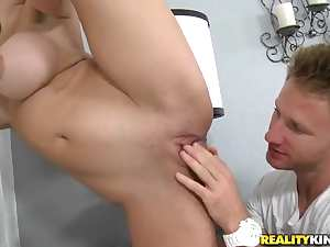 Pretty sexy looking blonde chick Trinity St Clair is pleasing her boyfriend Mark Anthony with great dick suck.