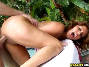 Handsome Aiyana Cassidy is sitting on the poolside with open legs and getting her cunt licked by Mike Chapman.
