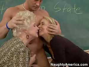 Old ladies fucked in class