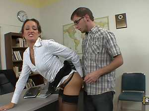 Insatiable teacher milf seduces her student
