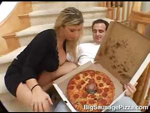 Cock in pizza box fucks Sara Jay