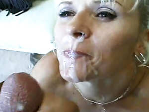 Mature blonde Kristina St. James is sucking tasty shaft with pleasure