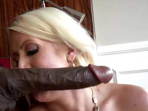 Blonde and giant big black dick