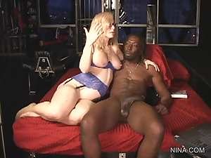 Skillful mature is riding on the big black dick