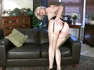 Elegant mature girl solo striptease