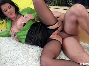 He rips her pantyhose and fucks her