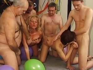 Sexy insane gangbang with slender sluts