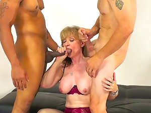 Nina fuck with two big young dicks