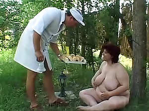 Fat girl gets muddy as they fuck