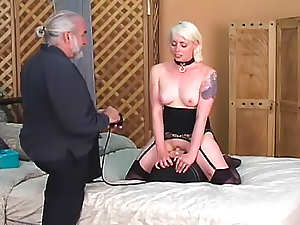 Two collared subs do as master wishes