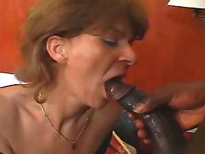 BBC fucks slut mom in black fishnets