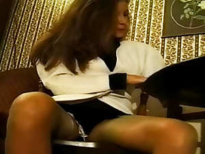 Office beauty in soft sexy pantyhose