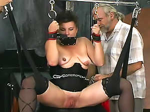 Two guys use this sub slave girl