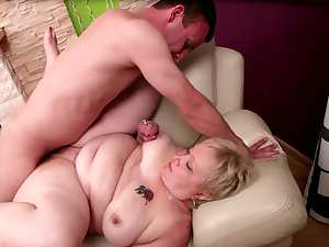Fat mature blonde and hardcore muscular man