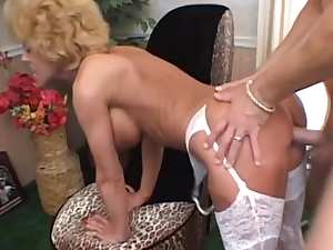 Pretty mature blonde gets cum on her face
