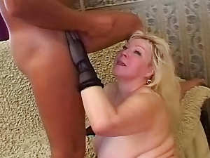 Mature blonde bbw sucks and gets caressed rough