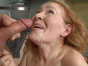 Blonde Judita is getting cum on her face