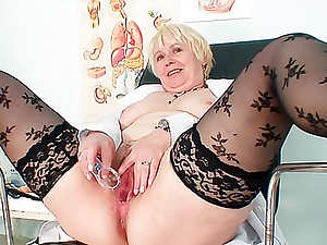 Sexy black stockings on mature pussy model