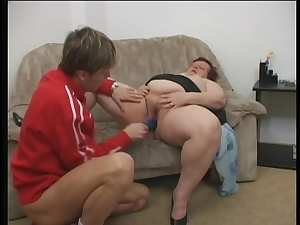 Fat babe Miranda is giving a deep blowjob