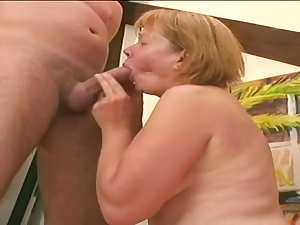 Mature and fatty Mila is jumping on his amazing shaft indoors