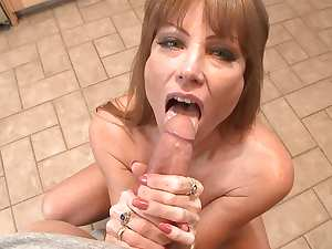 Busty babe Darla Crane is sucking a cock