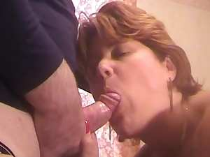 Mature mom presents hot blowjob and dick riding for her lover