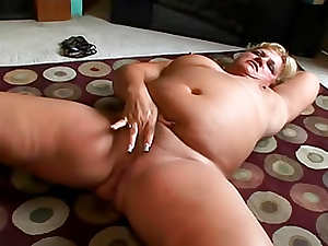 Fat cock sucker is fingering her fresh pussy with huge sex tool