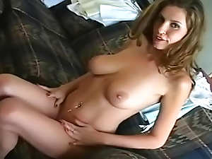 Busty lady is playing with her nice boobies