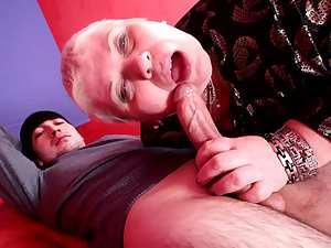 Fat mature is sucking that very nice dick