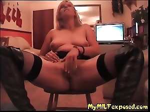 My Mommy Exposed - stockings Cougar in boots flashing twat