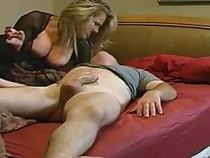 Stepmom with enormous melons & lad