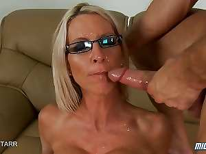 Tempting blonde Mommy Sits On A Xxl big cock And Gets Face Drenched In Cum