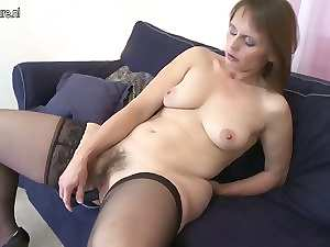 Very hairy amateur slutty mom playing with herself on the couch