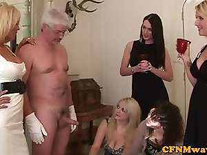 Posh CFNM femdom housewives wank fellow off