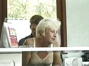 Ficky Martin shags a blond very hairy granny extremely brutal on the hotel desk