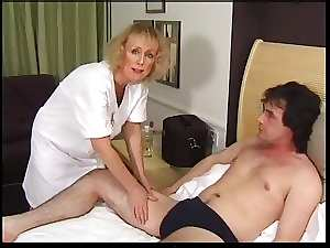 Bony Blondie Granny Gets Creampie and Facial