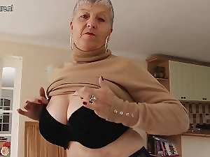 Slutty big breasted English granny playing with herself