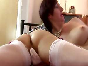 Experienced lezzies love oral and toys from her younger lover
