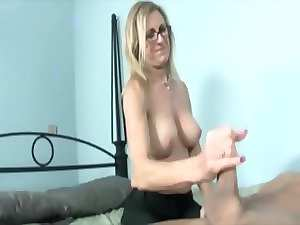 Tempting blonde solid is jerking off dick