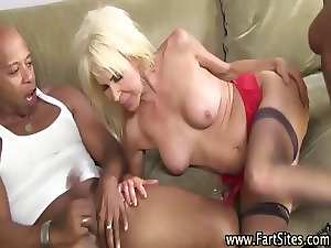 Aged interracial hoe gets banged