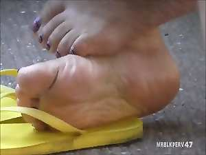 Aged Latina Barefoot Soles