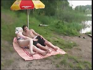 Rus aged Stepmom and her lad on the nature! Amateur!